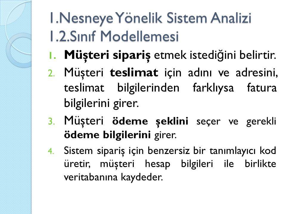 1.Nesneye Yönelik Sistem Analizi 1.2.Sınıf Modellemesi 1. Müşteri sipariş etmek istedi ğ ini belirtir. 2. Müşteri teslimat için adını ve adresini, tes