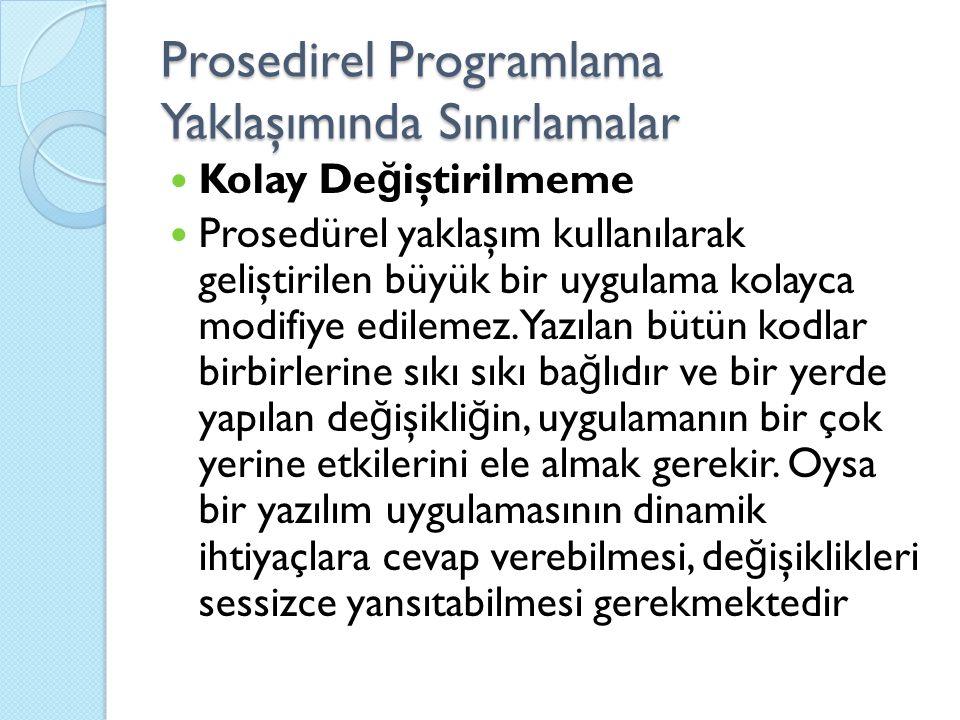 Prosedirel Programlama Yaklaşımında Sınırlamalar Kolay De ğ iştirilmeme Prosedürel yaklaşım kullanılarak geliştirilen büyük bir uygulama kolayca modifiye edilemez.