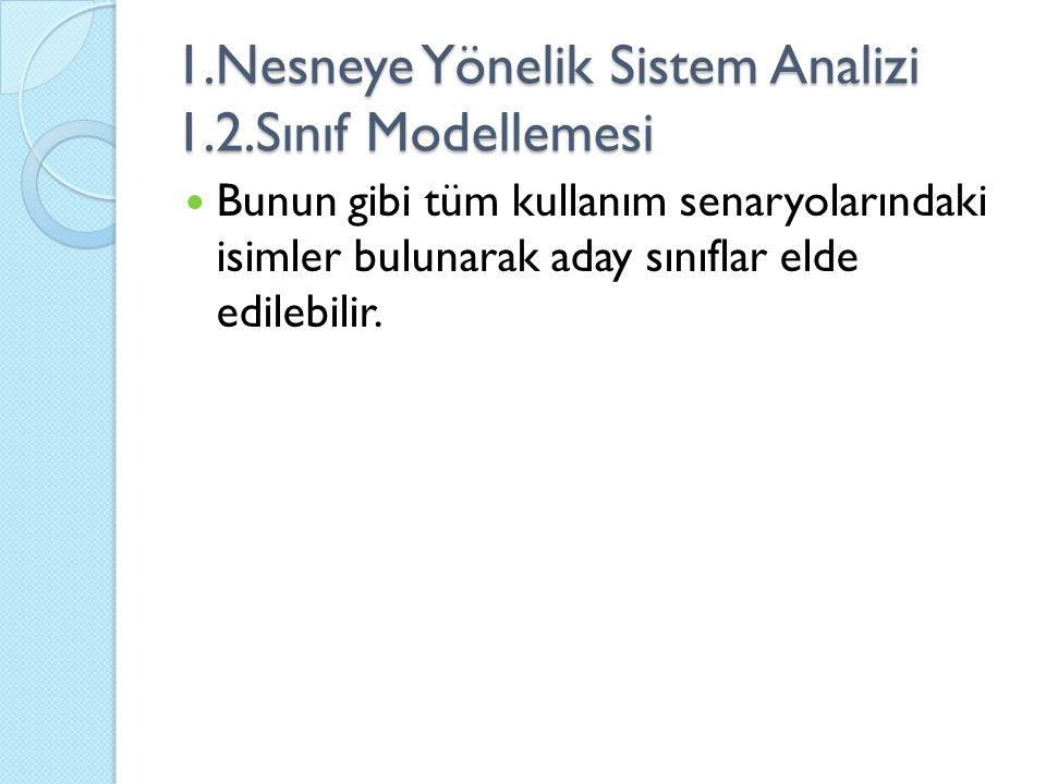 1.Nesneye Yönelik Sistem Analizi 1.2.Sınıf Modellemesi Bunun gibi tüm kullanım senaryolarındaki isimler bulunarak aday sınıflar elde edilebilir.