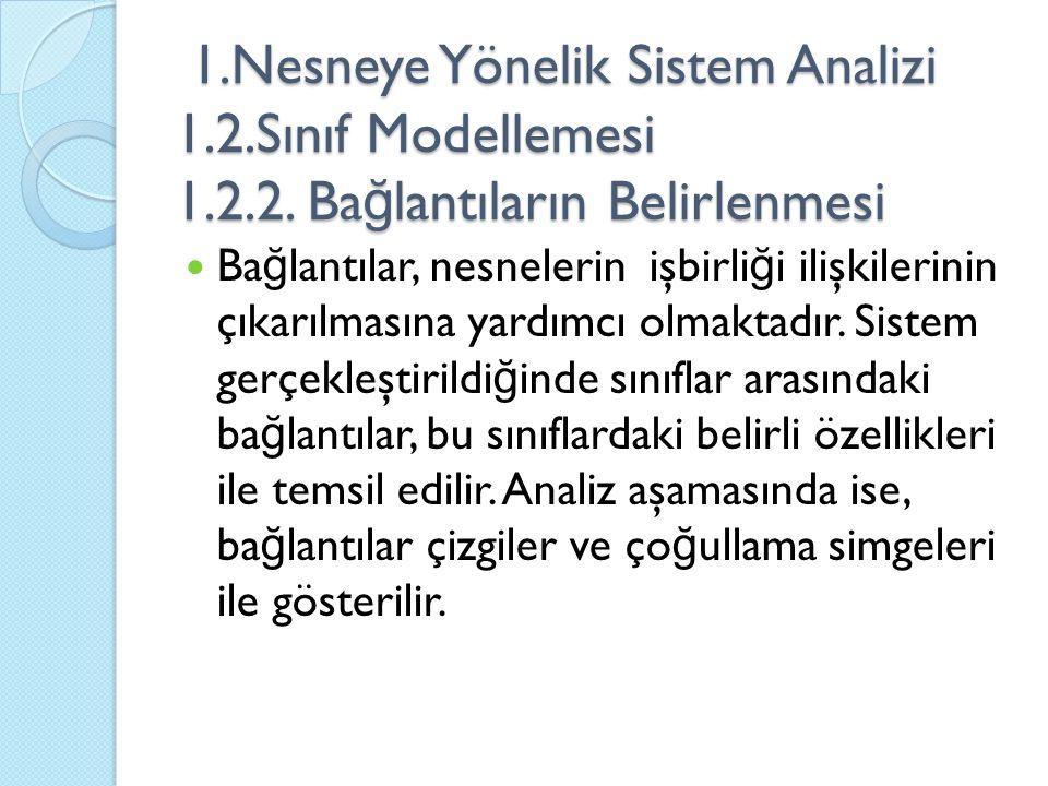 1.Nesneye Yönelik Sistem Analizi 1.2.Sınıf Modellemesi 1.2.2. Ba ğ lantıların Belirlenmesi 1.Nesneye Yönelik Sistem Analizi 1.2.Sınıf Modellemesi 1.2.