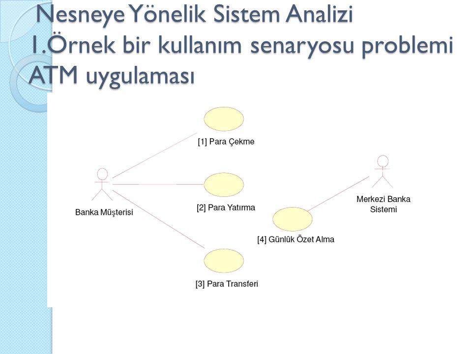 Nesneye Yönelik Sistem Analizi 1.Örnek bir kullanım senaryosu problemi ATM uygulaması Nesneye Yönelik Sistem Analizi 1.Örnek bir kullanım senaryosu problemi ATM uygulaması