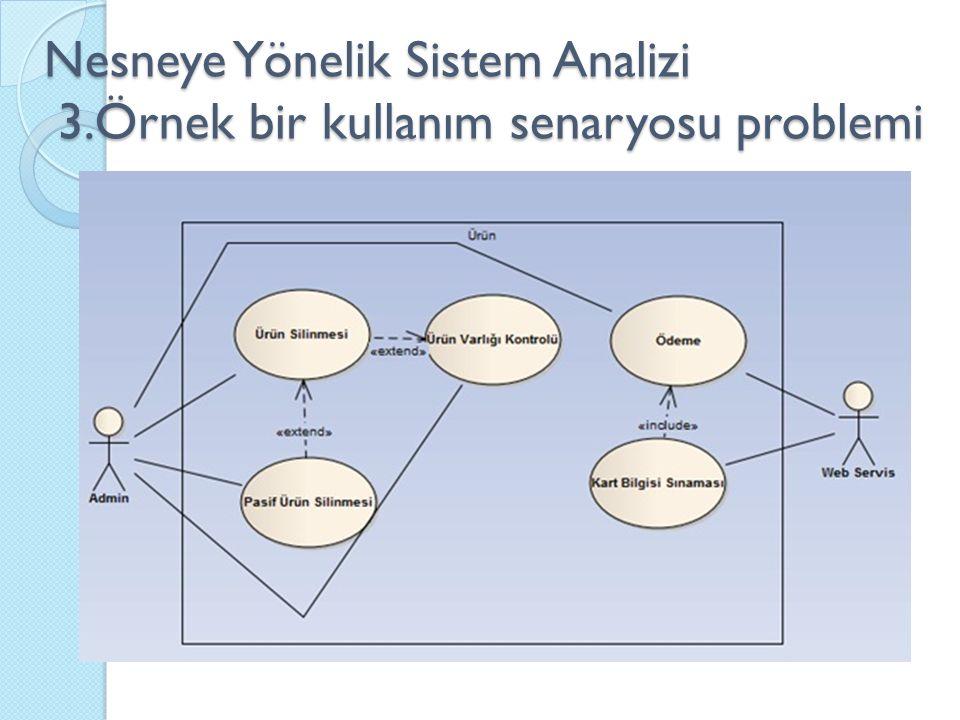 Nesneye Yönelik Sistem Analizi 3.Örnek bir kullanım senaryosu problemi