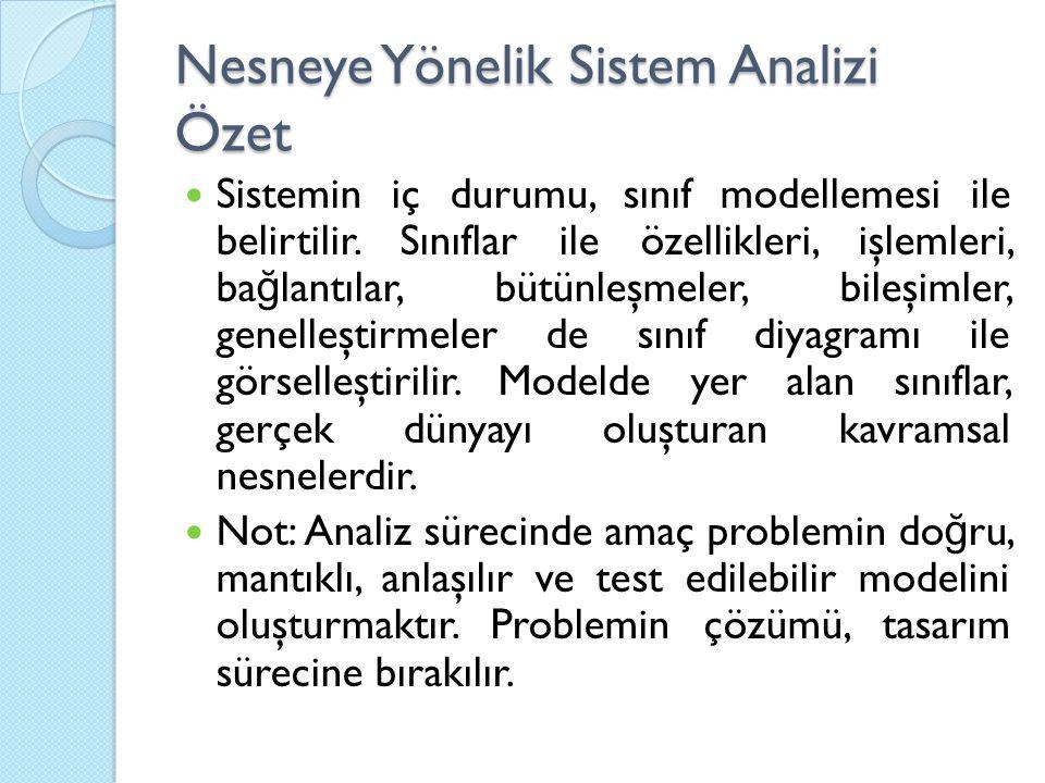 Nesneye Yönelik Sistem Analizi Özet Sistemin iç durumu, sınıf modellemesi ile belirtilir. Sınıflar ile özellikleri, işlemleri, ba ğ lantılar, bütünleş