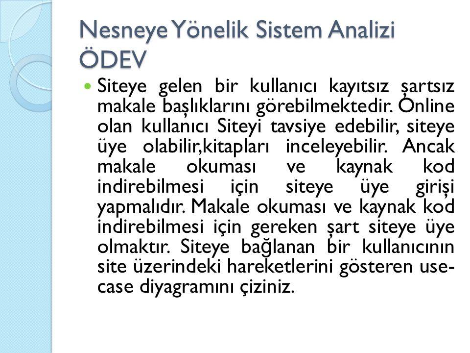 Nesneye Yönelik Sistem Analizi ÖDEV Siteye gelen bir kullanıcı kayıtsız şartsız makale başlıklarını görebilmektedir. Online olan kullanıcı Siteyi tavs