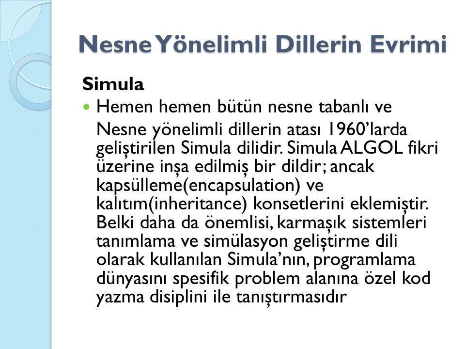 Nesne Yönelimli Dillerin Evrimi Simula Hemen hemen bütün nesne tabanlı ve Nesne yönelimli dillerin atası 1960'larda geliştirilen Simula dilidir. Simul