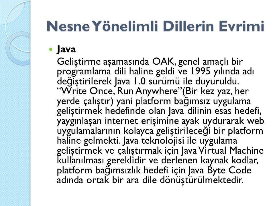 Nesne Yönelimli Dillerin Evrimi Java Geliştirme aşamasında OAK, genel amaçlı bir programlama dili haline geldi ve 1995 yılında adı de ğ iştirilerek Java 1.0 sürümü ile duyuruldu.
