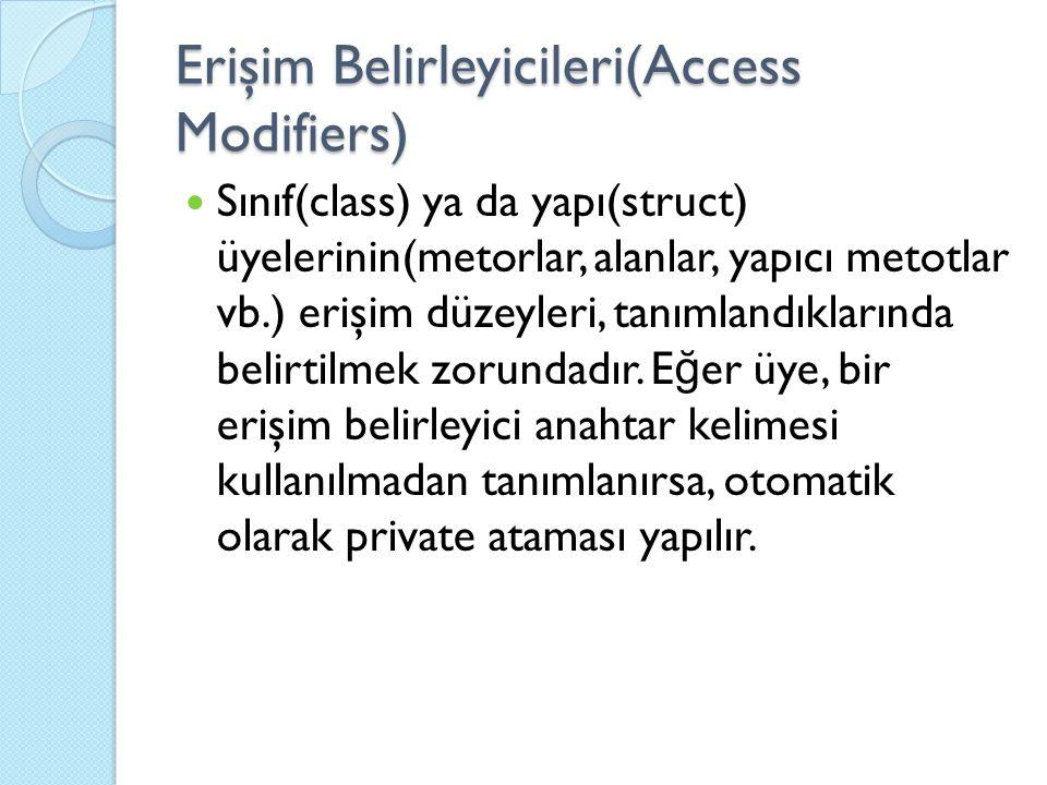 Erişim Belirleyicileri(Access Modifiers) Sınıf(class) ya da yapı(struct) üyelerinin(metorlar, alanlar, yapıcı metotlar vb.) erişim düzeyleri, tanımlan