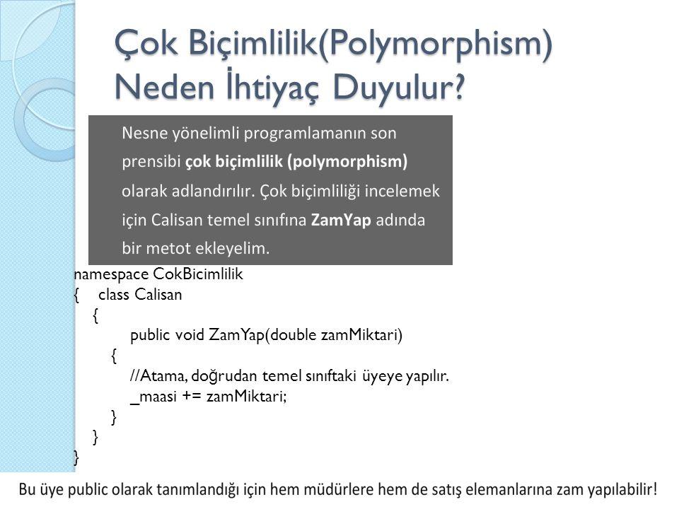 namespace CokBicimlilik { class Calisan { public void ZamYap(double zamMiktari) { //Atama, do ğ rudan temel sınıftaki üyeye yapılır. _maasi += zamMikt