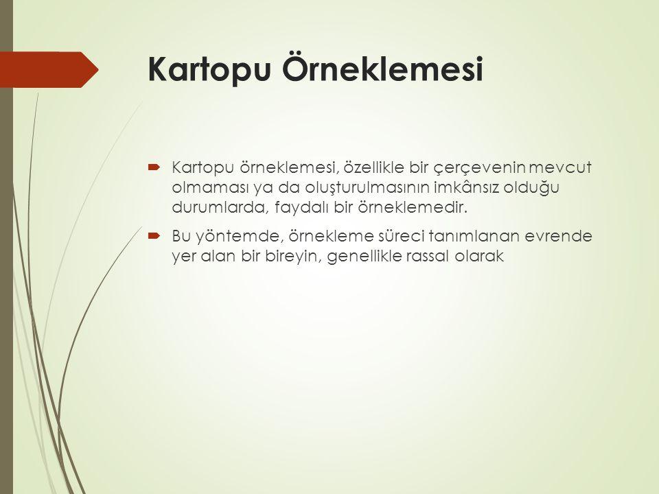 Kartopu Örneklemesi  Kartopu örneklemesi, özellikle bir çerçevenin mevcut olmaması ya da oluşturulmasının imkânsız olduğu durumlarda, faydalı bir örneklemedir.