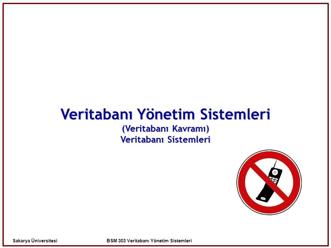 Veritabanı Yönetim Sistemleri (Veritabanı Kavramı) Veritabanı Sistemleri Sakarya Üniversitesi BSM 303 Veritabanı Yönetim Sistemleri