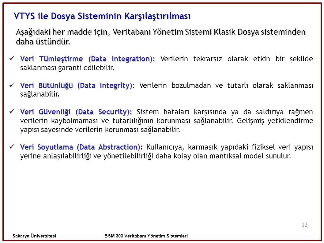 12 Aşağıdaki her madde için, Veritabanı Yönetim Sistemi Klasik Dosya sisteminden daha üstündür. Sakarya Üniversitesi BSM 303 Veritabanı Yönetim Sistem