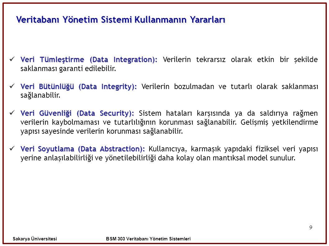 9 Veritabanı Yönetim Sistemi Kullanmanın Yararları Sakarya Üniversitesi BSM 303 Veritabanı Yönetim Sistemleri Veri Tümleştirme (Data Integration): Ver