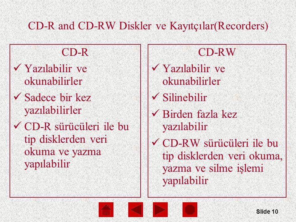 Slide 10 CD-R and CD-RW Diskler ve Kayıtçılar(Recorders) CD-R Yazılabilir ve okunabilirler Sadece bir kez yazılabilirler CD-R sürücüleri ile bu tip disklerden veri okuma ve yazma yapılabilir CD-RW Yazılabilir ve okunabilirler Silinebilir Birden fazla kez yazılabilir CD-RW sürücüleri ile bu tip disklerden veri okuma, yazma ve silme işlemi yapılabilir