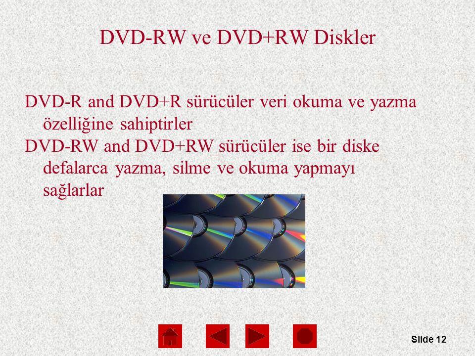 Slide 12 DVD-RW ve DVD+RW Diskler DVD-R and DVD+R sürücüler veri okuma ve yazma özelliğine sahiptirler DVD-RW and DVD+RW sürücüler ise bir diske defalarca yazma, silme ve okuma yapmayı sağlarlar
