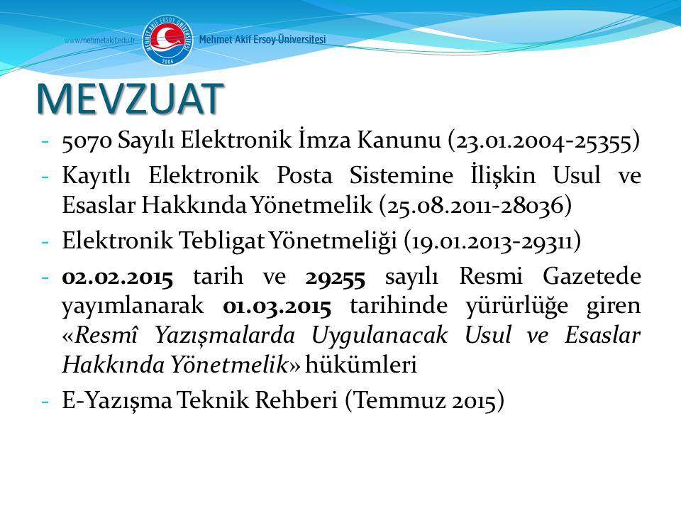 MEVZUAT - 5070 Sayılı Elektronik İmza Kanunu (23.01.2004-25355) - Kayıtlı Elektronik Posta Sistemine İlişkin Usul ve Esaslar Hakkında Yönetmelik (25.0