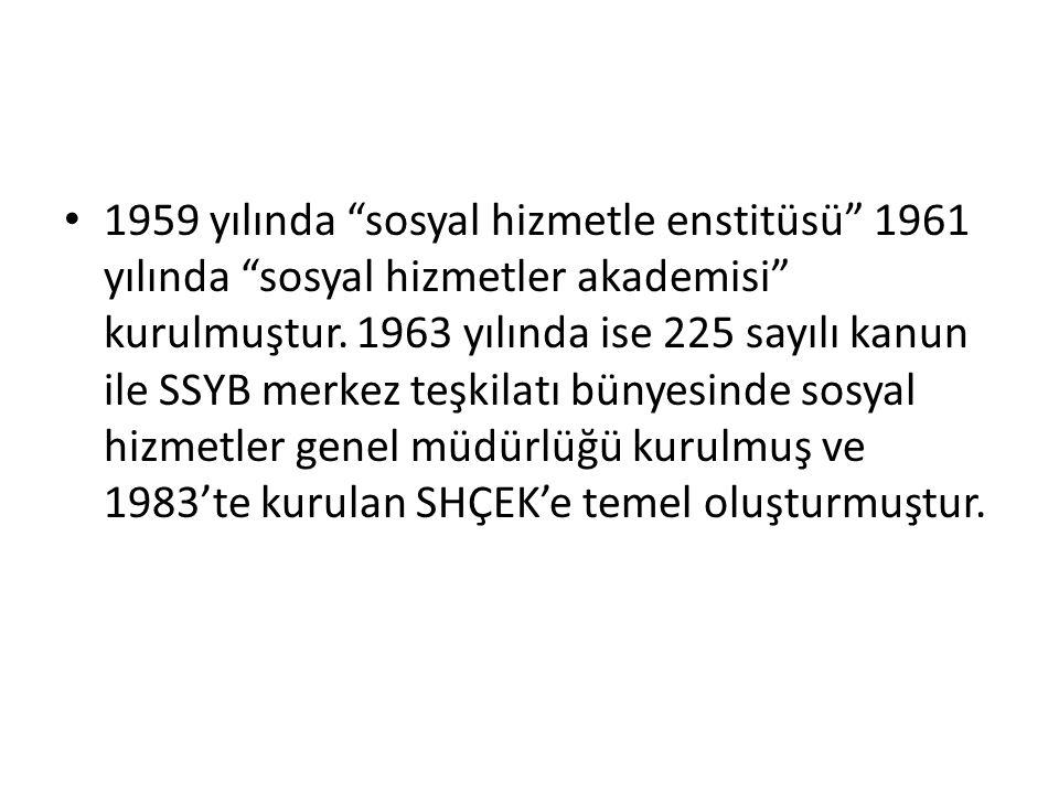 """1959 yılında """"sosyal hizmetle enstitüsü"""" 1961 yılında """"sosyal hizmetler akademisi"""" kurulmuştur. 1963 yılında ise 225 sayılı kanun ile SSYB merkez teşk"""