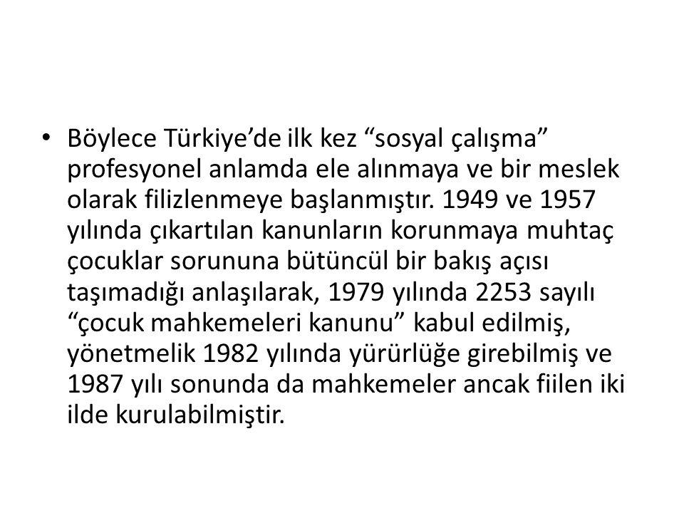 """Böylece Türkiye'de ilk kez """"sosyal çalışma"""" profesyonel anlamda ele alınmaya ve bir meslek olarak filizlenmeye başlanmıştır. 1949 ve 1957 yılında çıka"""