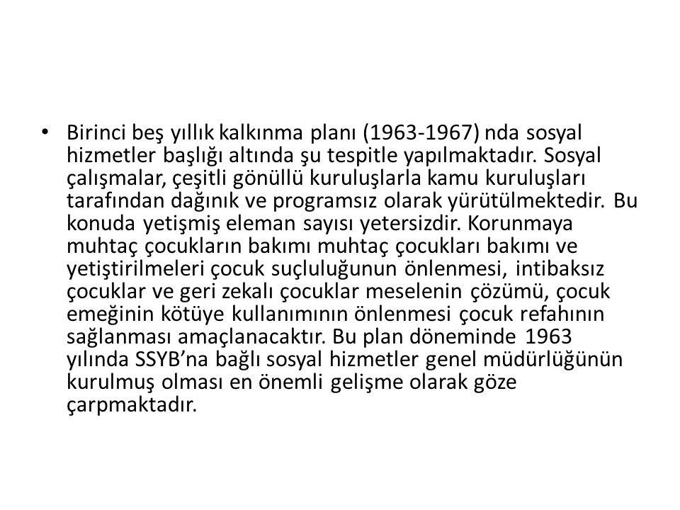 Birinci beş yıllık kalkınma planı (1963-1967) nda sosyal hizmetler başlığı altında şu tespitle yapılmaktadır. Sosyal çalışmalar, çeşitli gönüllü kurul