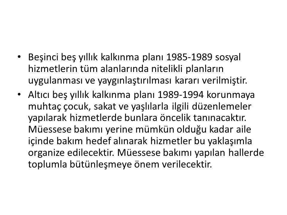 Beşinci beş yıllık kalkınma planı 1985-1989 sosyal hizmetlerin tüm alanlarında nitelikli planların uygulanması ve yaygınlaştırılması kararı verilmişti
