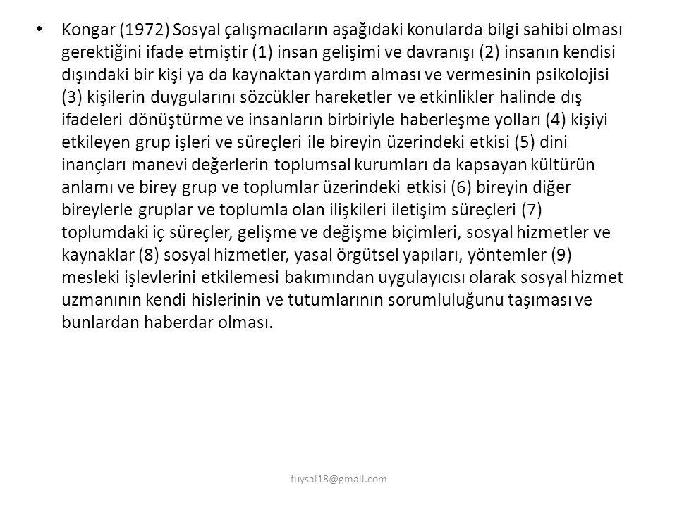Kongar (1972) Sosyal çalışmacıların aşağıdaki konularda bilgi sahibi olması gerektiğini ifade etmiştir (1) insan gelişimi ve davranışı (2) insanın ken