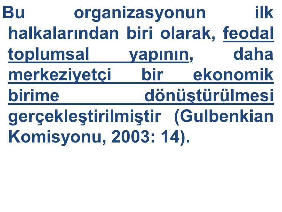 Bu organizasyonun ilk halkalarından biri olarak, feodal toplumsal yapının, daha merkeziyetçi bir ekonomik birime dönüştürülmesi gerçekleştirilmiştir (
