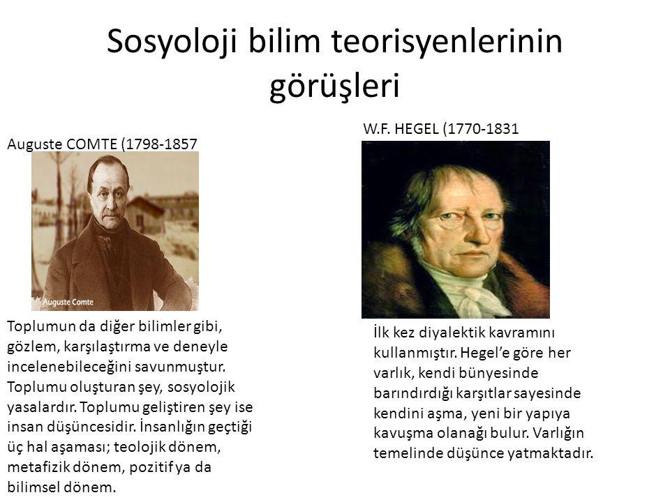 Sosyoloji bilim teorisyenlerinin görüşleri Auguste COMTE (1798-1857 Toplumun da diğer bilimler gibi, gözlem, karşılaştırma ve deneyle incelenebileceği