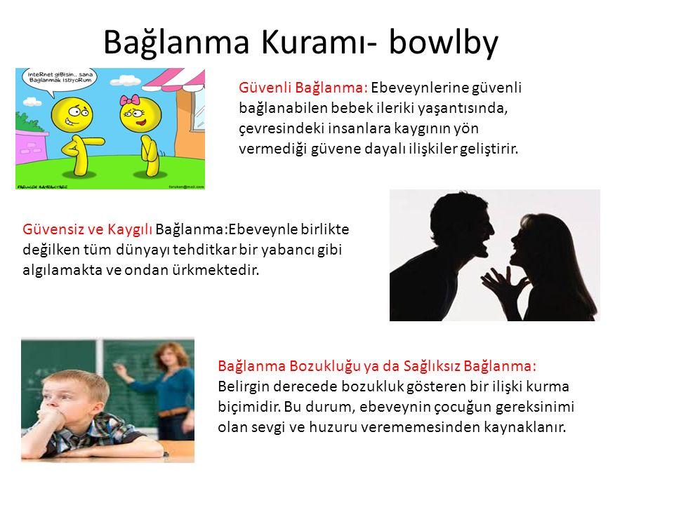 Bağlanma Kuramı- bowlby Güvenli Bağlanma: Ebeveynlerine güvenli bağlanabilen bebek ileriki yaşantısında, çevresindeki insanlara kaygının yön vermediği