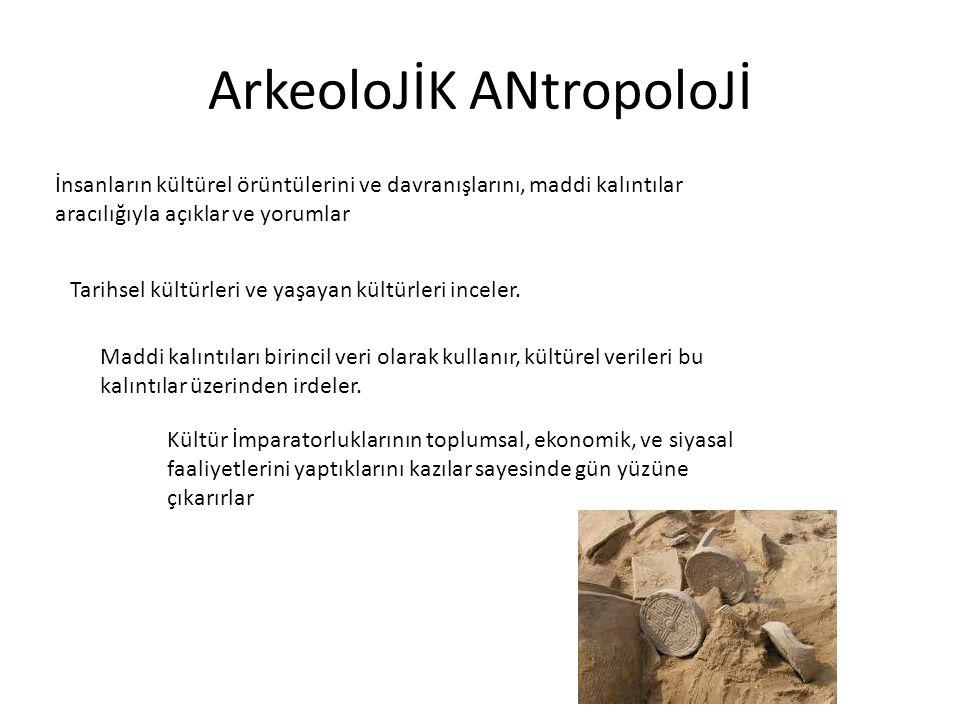 ArkeoloJİK ANtropoloJİ İnsanların kültürel örüntülerini ve davranışlarını, maddi kalıntılar aracılığıyla açıklar ve yorumlar Tarihsel kültürleri ve ya
