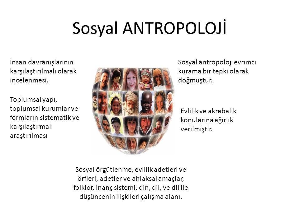 Sosyal ANTROPOLOJİ İnsan davranışlarının karşılaştırılmalı olarak incelenmesi. Toplumsal yapı, toplumsal kurumlar ve formların sistematik ve karşılaşt