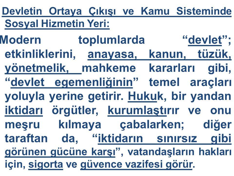 """Devletin Ortaya Çıkışı ve Kamu Sisteminde Sosyal Hizmetin Yeri: Modern toplumlarda """"devlet""""; etkinliklerini, anayasa, kanun, tüzük, yönetmelik, mahkem"""