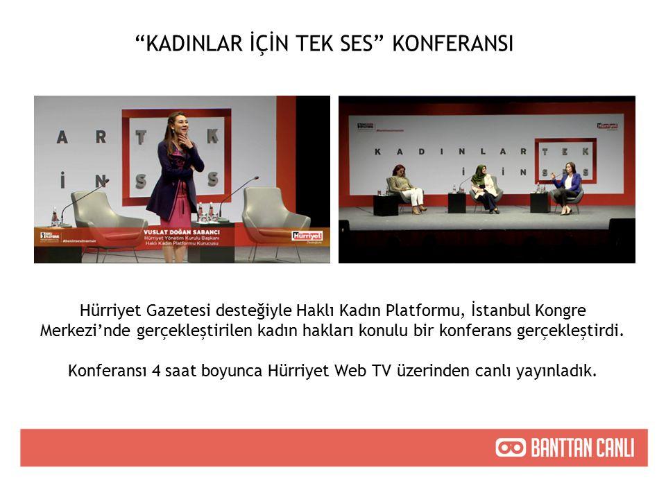 KADINLAR İÇİN TEK SES KONFERANSI Hürriyet Gazetesi desteğiyle Haklı Kadın Platformu, İstanbul Kongre Merkezi'nde gerçekleştirilen kadın hakları konulu bir konferans gerçekleştirdi.