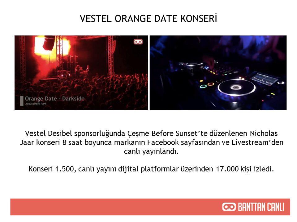 VESTEL ORANGE DATE KONSERİ Vestel Desibel sponsorluğunda Çeşme Before Sunset'te düzenlenen Nicholas Jaar konseri 8 saat boyunca markanın Facebook sayfasından ve Livestream'den canlı yayınlandı.