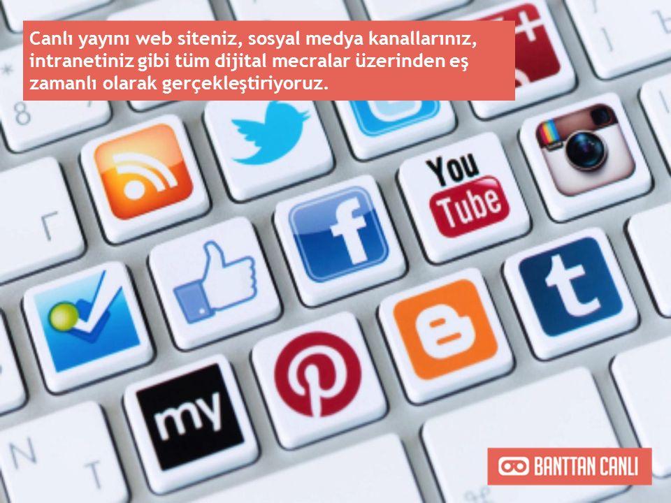Canlı yayını web siteniz, sosyal medya kanallarınız, intranetiniz gibi tüm dijital mecralar üzerinden eş zamanlı olarak gerçekleştiriyoruz.