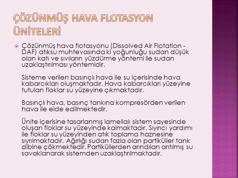  Çözünmüş hava flotasyonu (Dissolved Air Flotation - DAF) atıksu muhtevasında ki yoğunluğu sudan düşük olan katı ve sıvıların yüzdürme yöntemi ile su