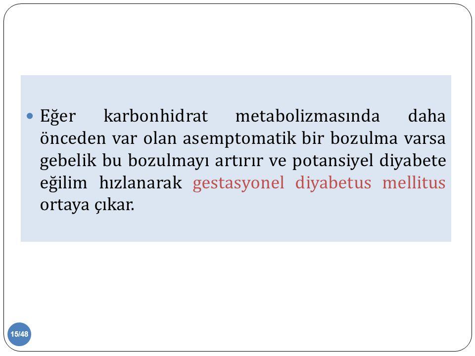 Eğer karbonhidrat metabolizmasında daha önceden var olan asemptomatik bir bozulma varsa gebelik bu bozulmayı artırır ve potansiyel diyabete eğilim hızlanarak gestasyonel diyabetus mellitus ortaya çıkar.