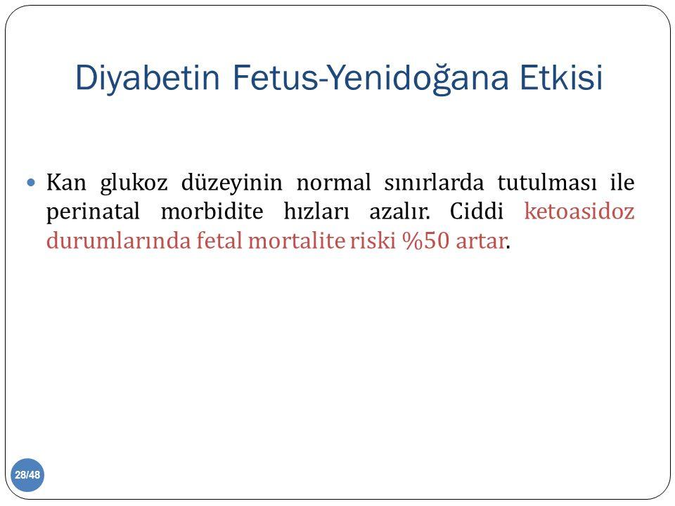 Diyabetin Fetus-Yenidoğana Etkisi Kan glukoz düzeyinin normal sınırlarda tutulması ile perinatal morbidite hızları azalır.