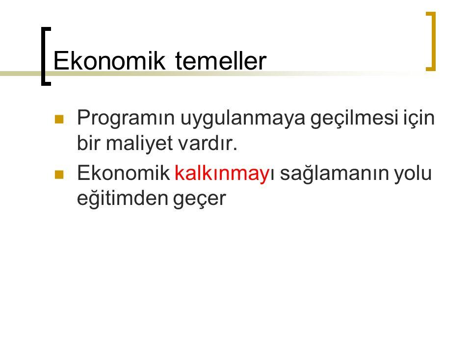 Ekonomik temeller Programın uygulanmaya geçilmesi için bir maliyet vardır. Ekonomik kalkınmayı sağlamanın yolu eğitimden geçer