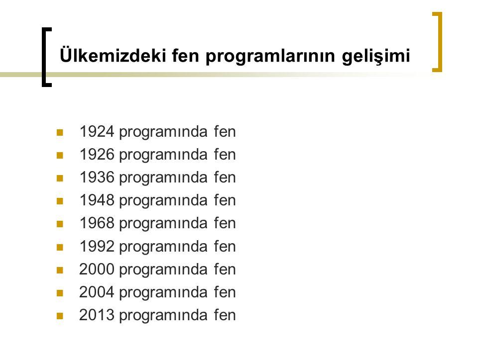 Ülkemizdeki fen programlarının gelişimi 1924 programında fen 1926 programında fen 1936 programında fen 1948 programında fen 1968 programında fen 1992