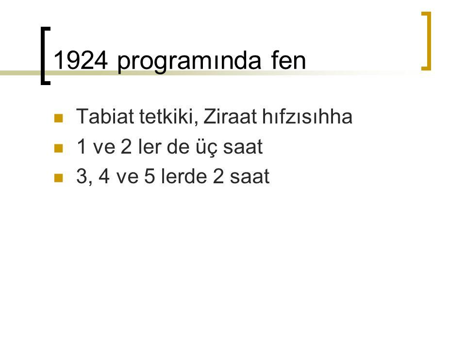 1924 programında fen Tabiat tetkiki, Ziraat hıfzısıhha 1 ve 2 ler de üç saat 3, 4 ve 5 lerde 2 saat
