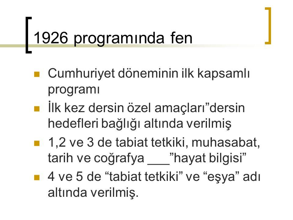 """1926 programında fen Cumhuriyet döneminin ilk kapsamlı programı İlk kez dersin özel amaçları""""dersin hedefleri bağlığı altında verilmiş 1,2 ve 3 de tab"""