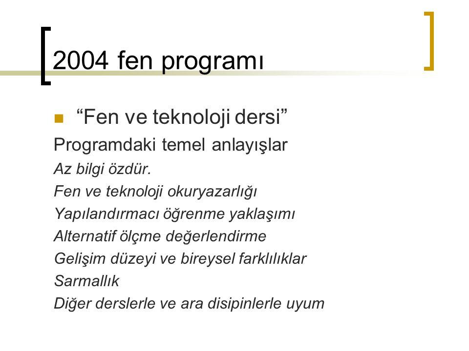 """2004 fen programı """"Fen ve teknoloji dersi"""" Programdaki temel anlayışlar Az bilgi özdür. Fen ve teknoloji okuryazarlığı Yapılandırmacı öğrenme yaklaşım"""
