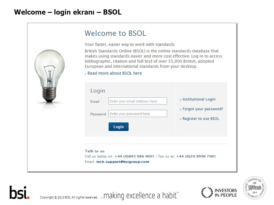 Copyright © 2013 BSI. All rights reserved. Welcome – login ekranı – BSOL