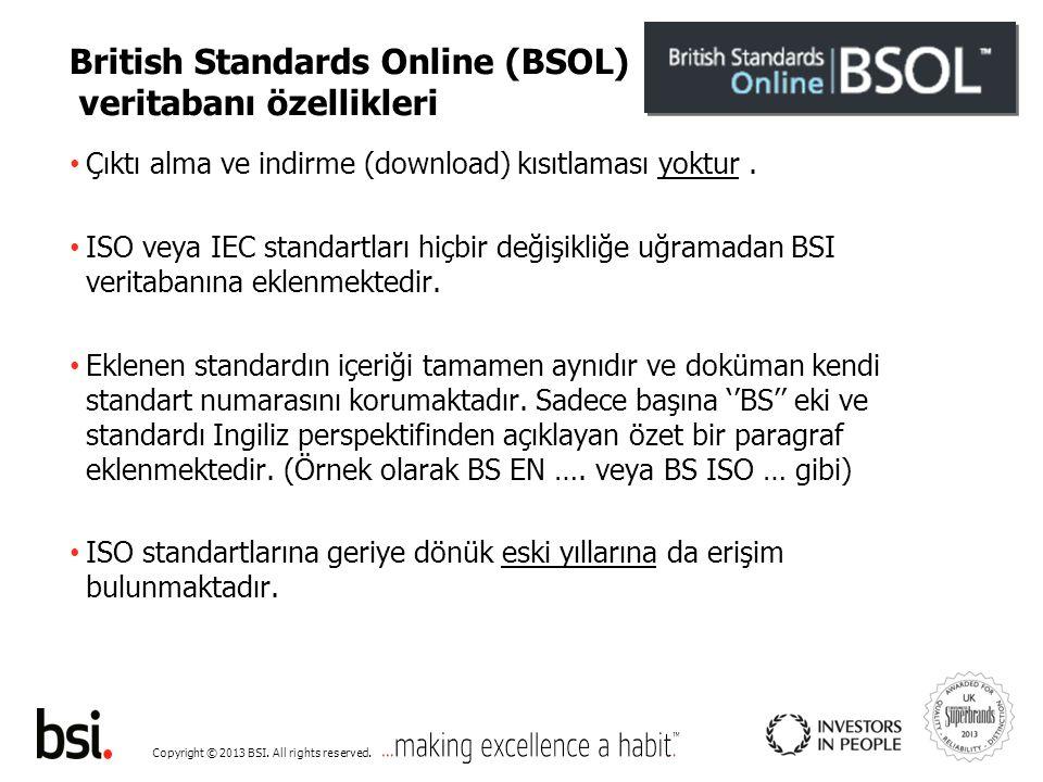 Copyright © 2013 BSI. All rights reserved. Welcome – login ekranı – BSOL