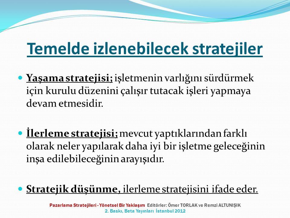 Temelde izlenebilecek stratejiler Yaşama stratejisi; işletmenin varlığını sürdürmek için kurulu düzenini çalışır tutacak işleri yapmaya devam etmesidi