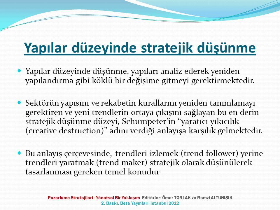 Yapılar düzeyinde stratejik düşünme Yapılar düzeyinde düşünme, yapıları analiz ederek yeniden yapılandırma gibi köklü bir değişime gitmeyi gerektirmek