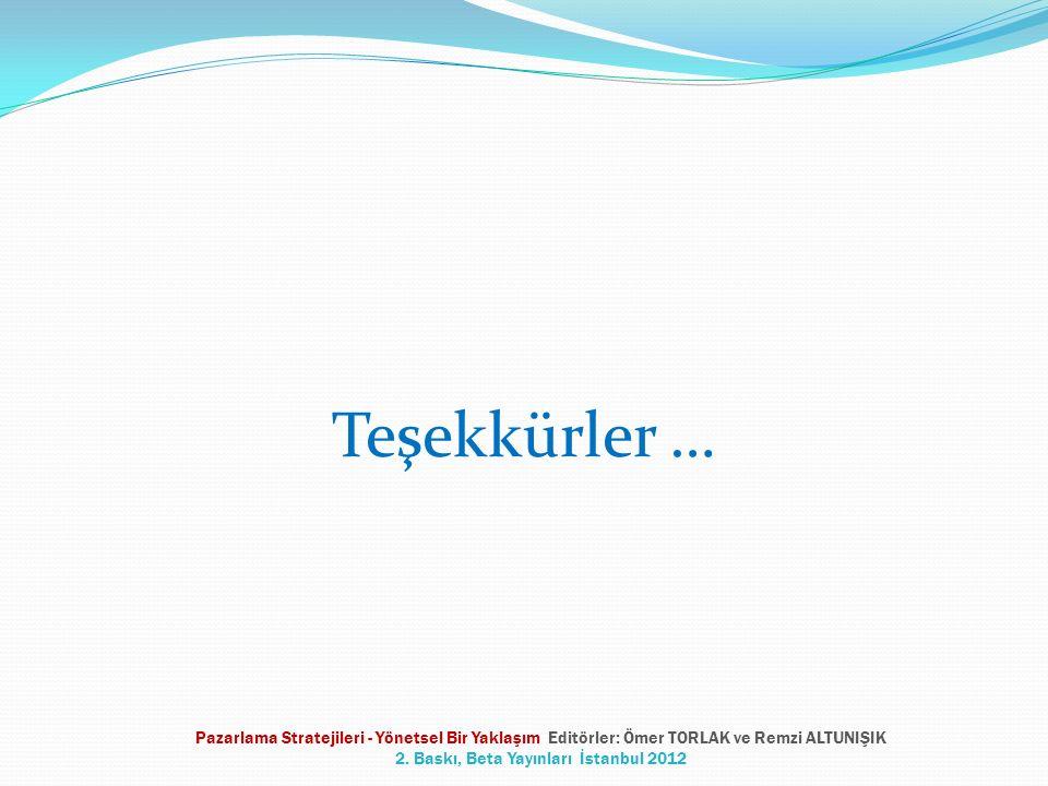 Teşekkürler … Pazarlama Stratejileri - Yönetsel Bir Yaklaşım Editörler: Ömer TORLAK ve Remzi ALTUNIŞIK 2. Baskı, Beta Yayınları İstanbul 2012