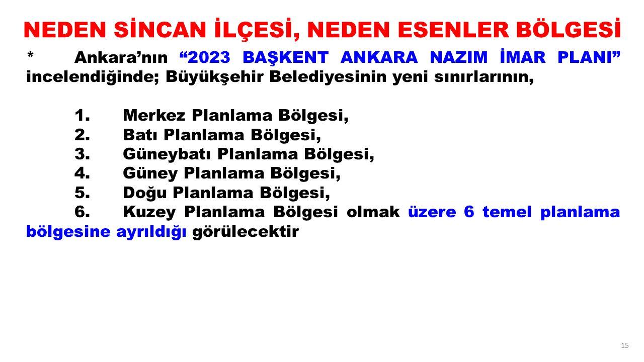 """15 NEDEN SİNCAN İLÇESİ, NEDEN ESENLER BÖLGESİ *Ankara'nın """"2023 BAŞKENT ANKARA NAZIM İMAR PLANI"""" incelendiğinde; Büyükşehir Belediyesinin yeni sınırla"""