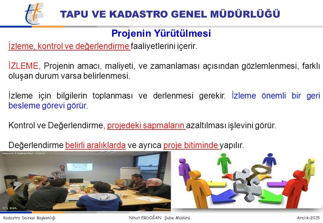 Kadastro Dairesi Başkanlığı Nihat ERDOĞAN Şube Müdürü Aralık-2015 TAPU VE KADASTRO GENEL MÜDÜRLÜĞÜ İzleme, kontrol ve değerlendirme faaliyetlerini içerir.
