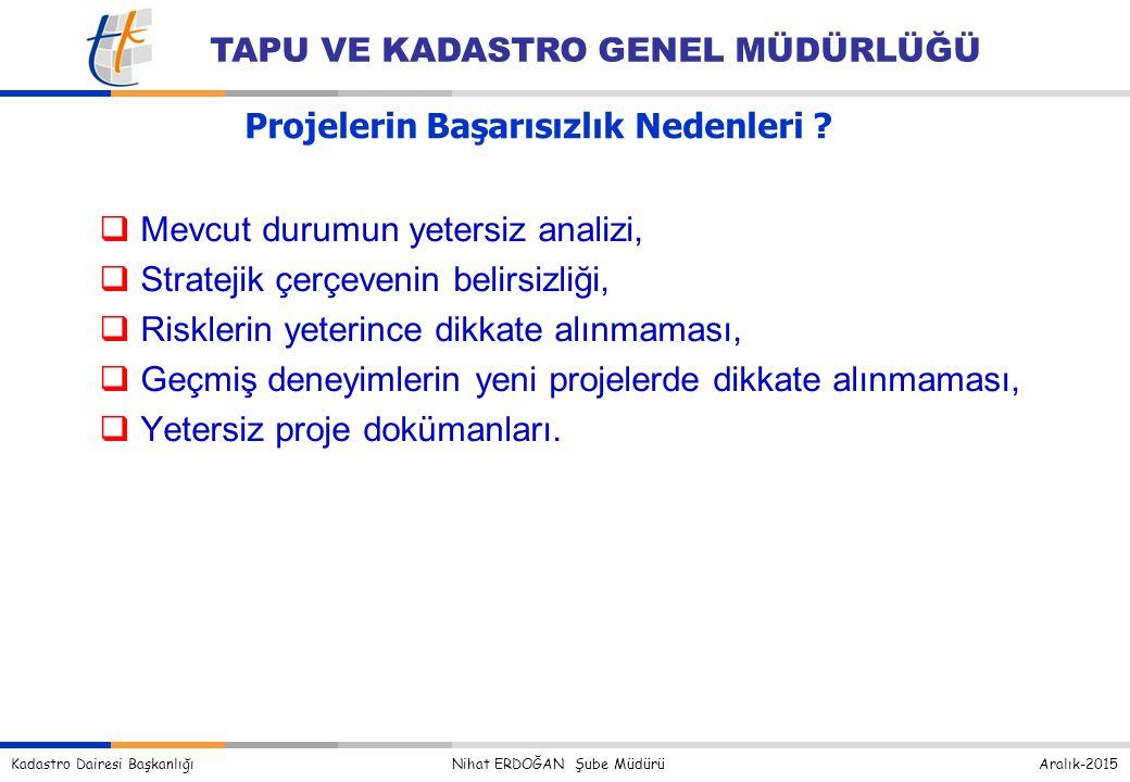 Kadastro Dairesi Başkanlığı Nihat ERDOĞAN Şube Müdürü Aralık-2015 TAPU VE KADASTRO GENEL MÜDÜRLÜĞÜ Projelerin Başarısızlık Nedenleri .