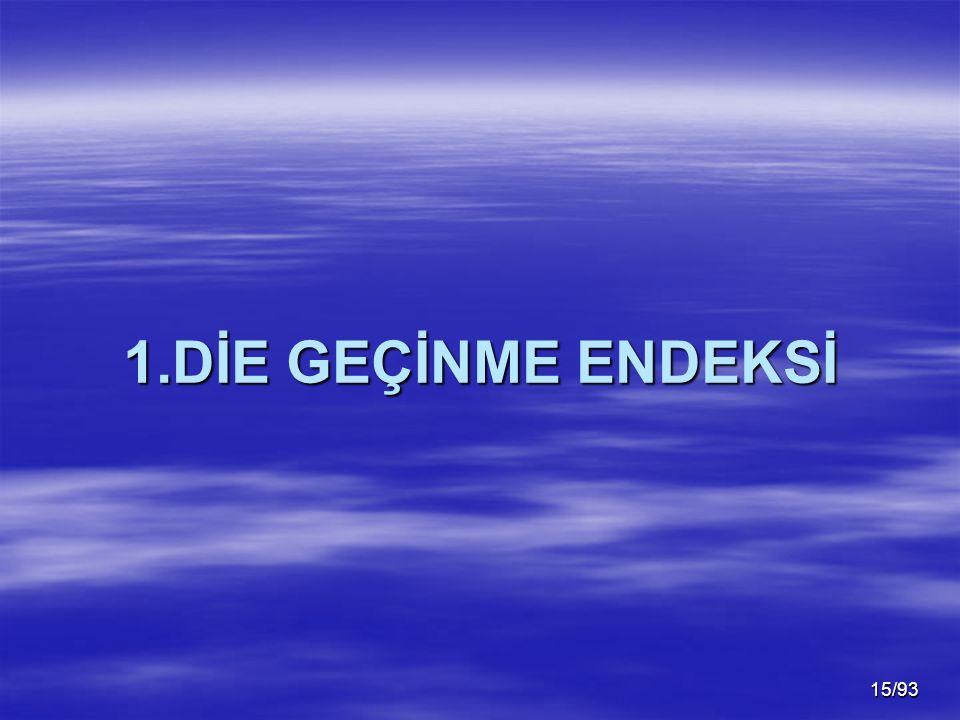 15/93 1.DİE GEÇİNME ENDEKSİ